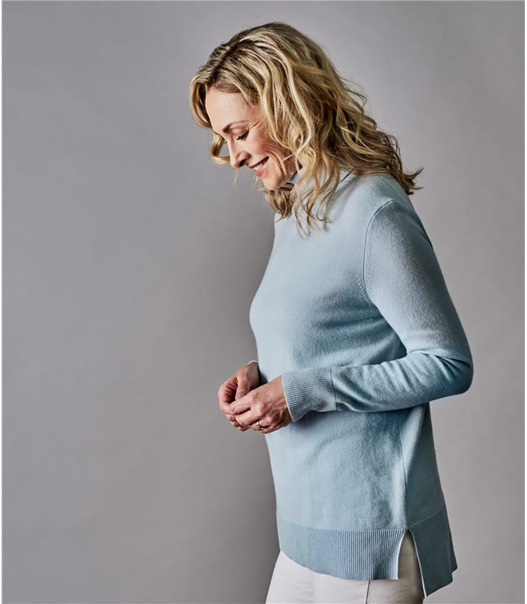 Womens Pure Cashmere Roll Neck Jumper