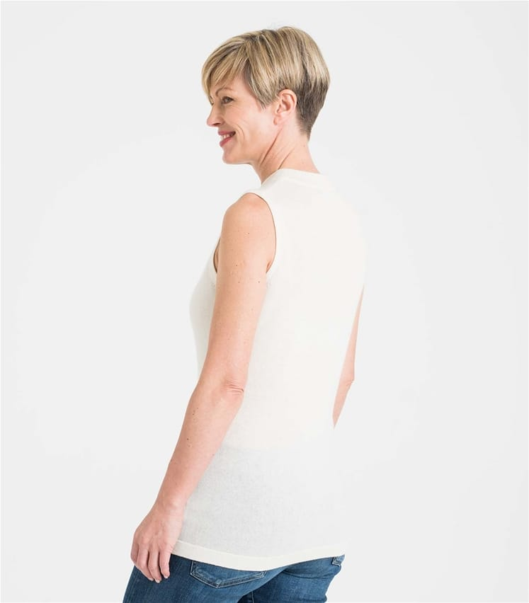 Womens Cashmere and Merino Sleeveless Turtle Neck Jumper