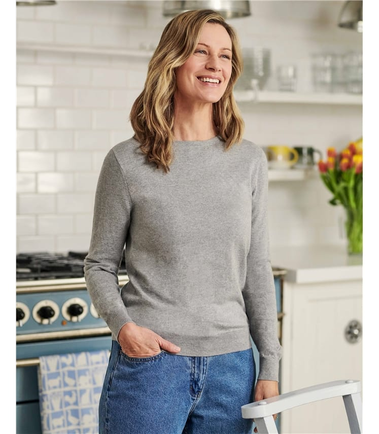 Cashmere and Cotton Crew Neck Jumper
