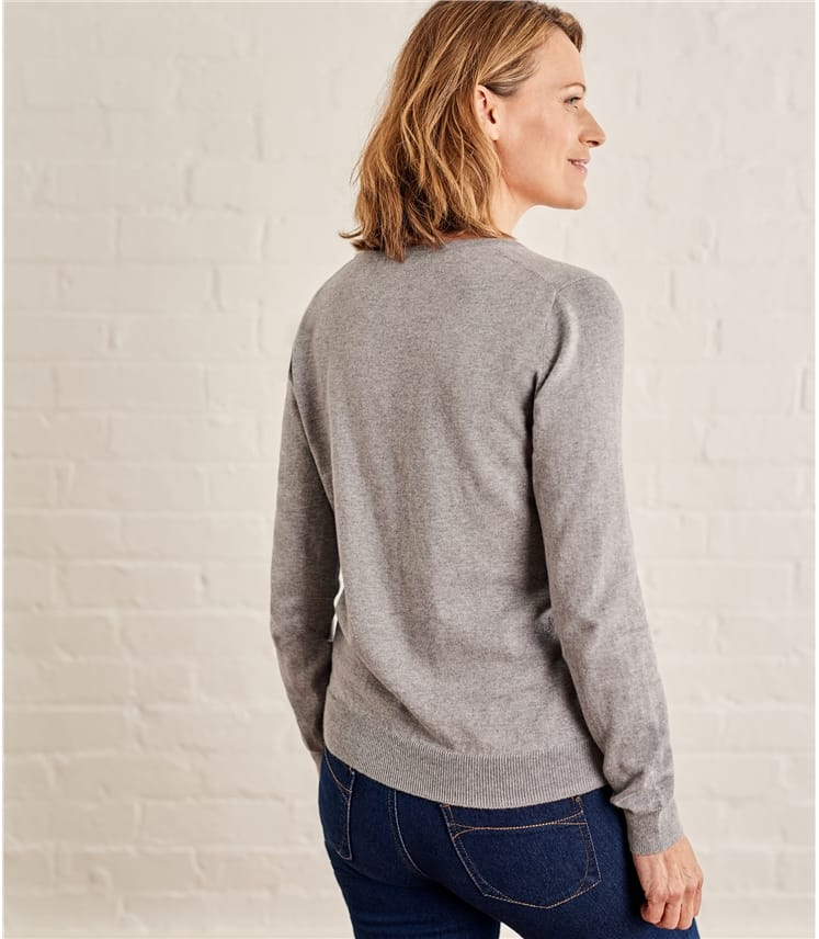 Womens Cashmere and Cotton V Neck Sweater