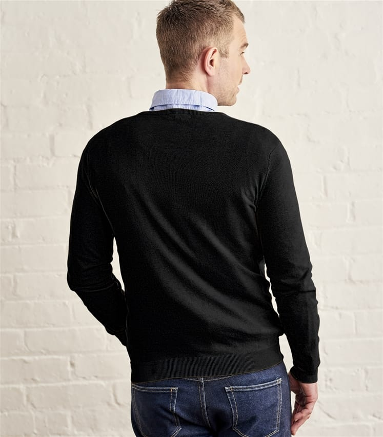 Mens Silk and Cotton V Neck Sweater