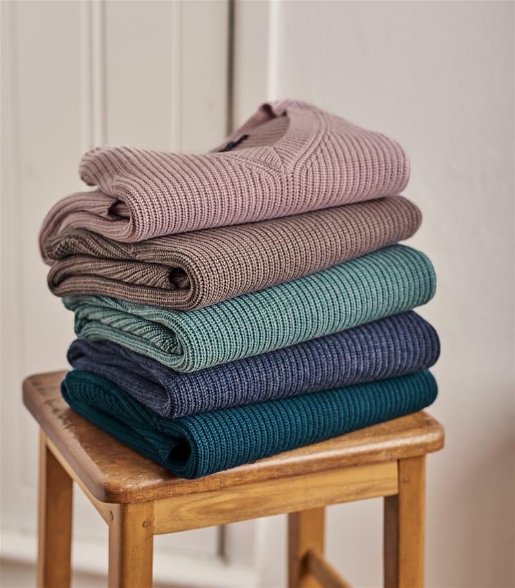 Grob gestrickter Pullover mit V-Ausschnitt aus Merino und Kaschmirwolle für Damen