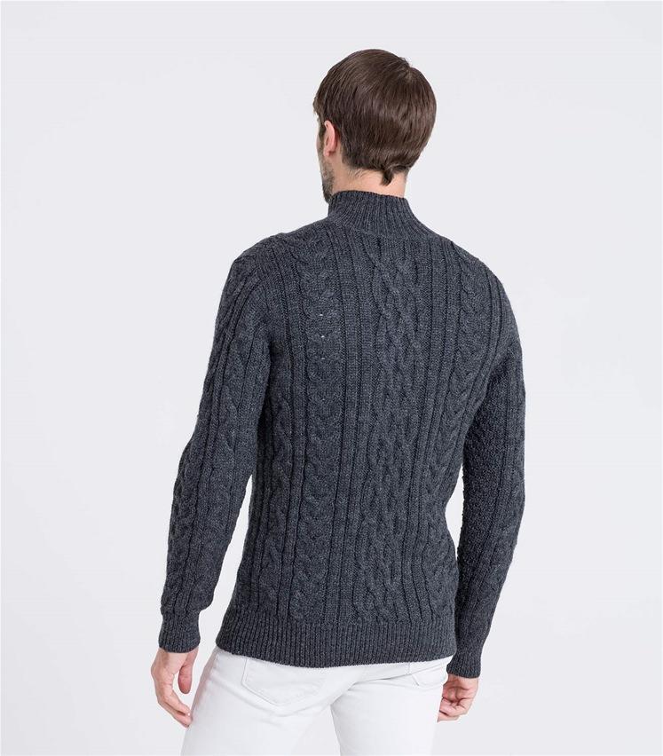Pullover mit Aran-Zopfmuster und kurzer Reißverschluss aus reiner Wolle für Herren
