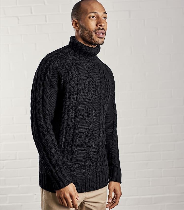 4bdbda18b7f Mens Pure Wool Aran Polo Neck Jumper