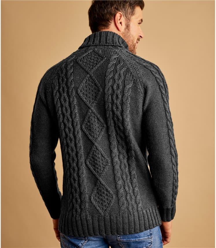 Rollkragenpullover mit Aran-Muster aus reiner Wolle für Herren