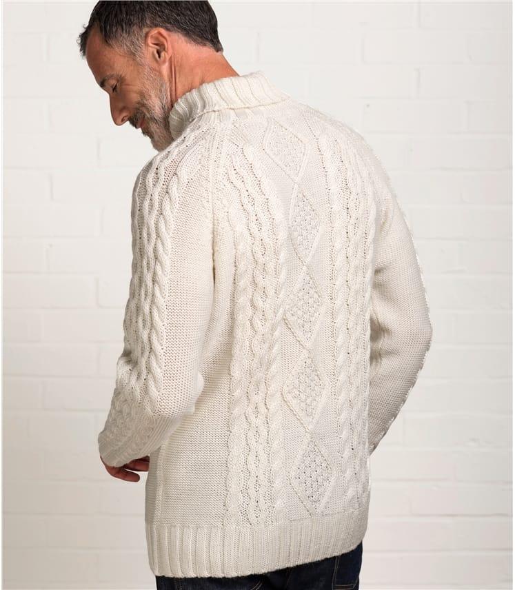 Mens Pure Wool Aran Polo Neck Jumper