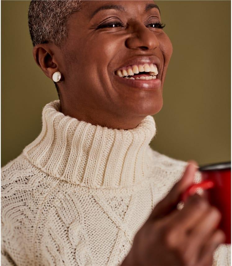 Womens Pure Wool Aran Turtle Neck Sweater