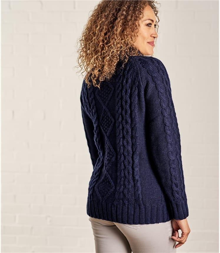 Womens Pure Wool Aran Polo Neck Jumper