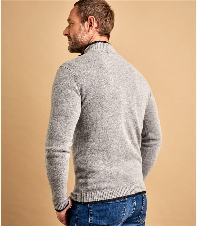 Mens Lambswool Glen Loch Zipper Sweater