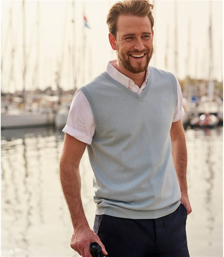 Mens Cashmere and Cotton Slipover