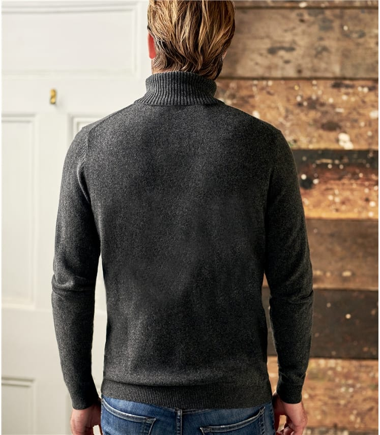 Mens Cashmere and Merino Polo Neck Jumper