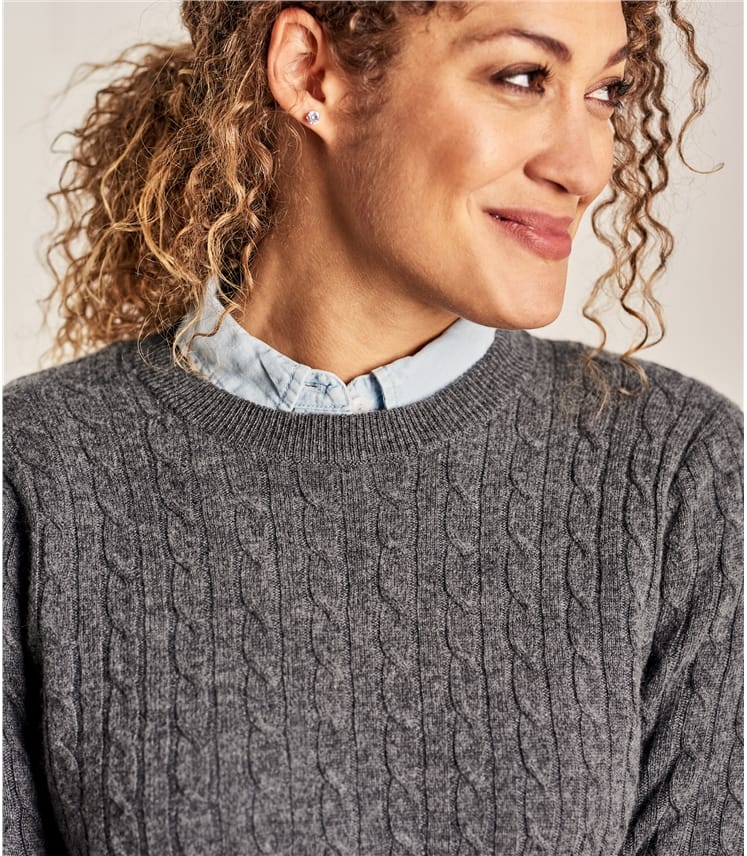 Womens Cashmere and Merino Cable Crew Neck Jumper