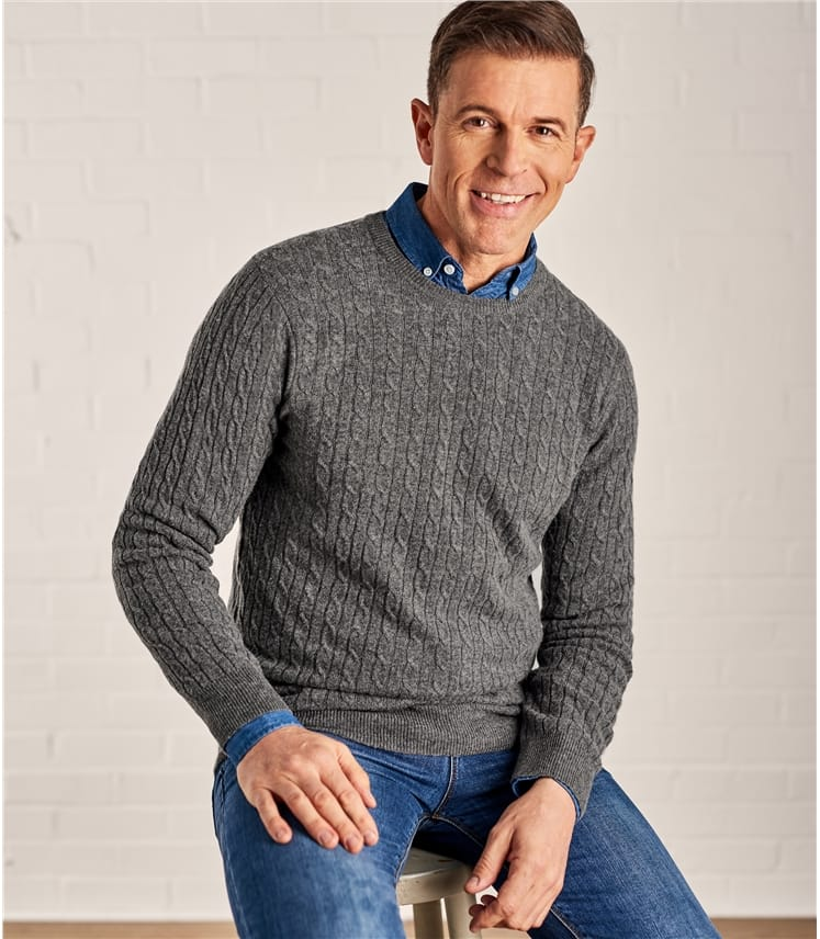 Mens Cashmere and Merino Cable Crew Neck Jumper
