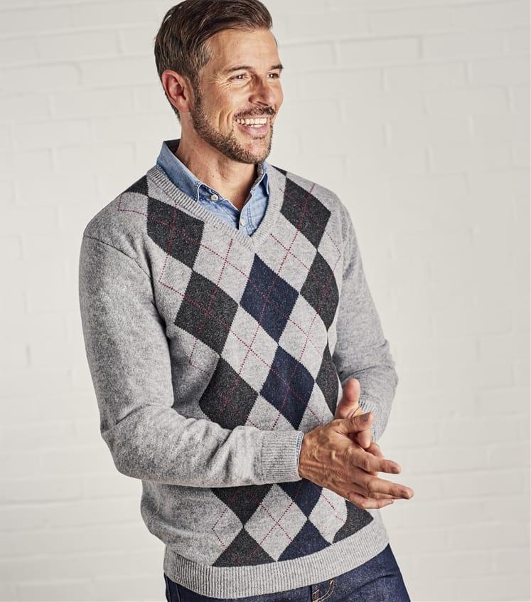Mens Lambswool V Neck Argyle Sweater