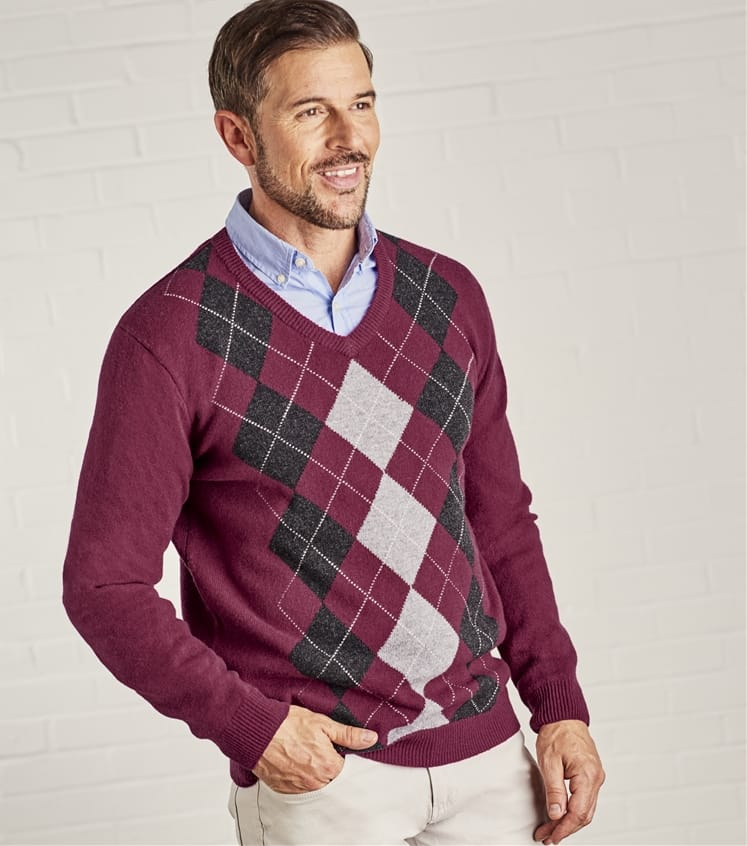 Mens Lambswool V Neck Argyle Jumper