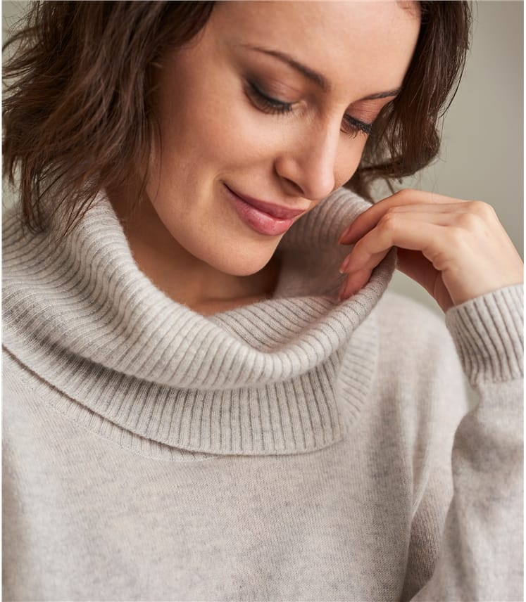 08d5c546c23e1 Dove Grey Pure Cashmere | Womens Pure Cashmere Cowl Neck Jumper