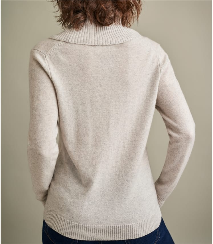 Womens Pure Cashmere Cowl Neck Sweater