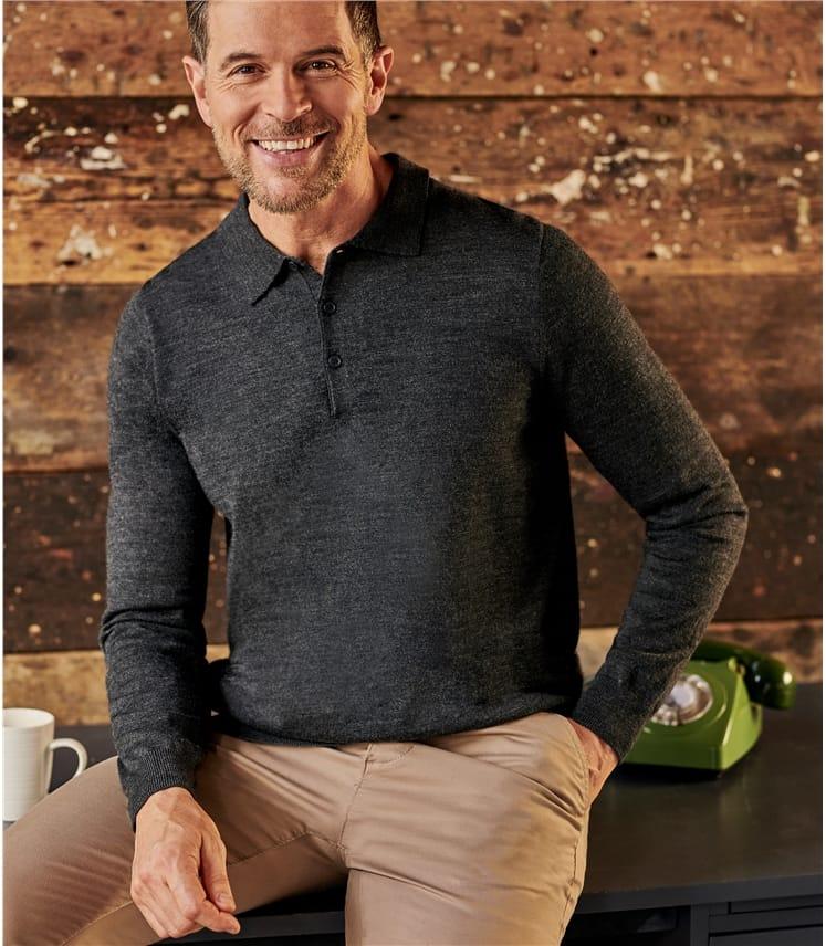 Mens Luxurious Merino Long Sleeve Polo Shirt