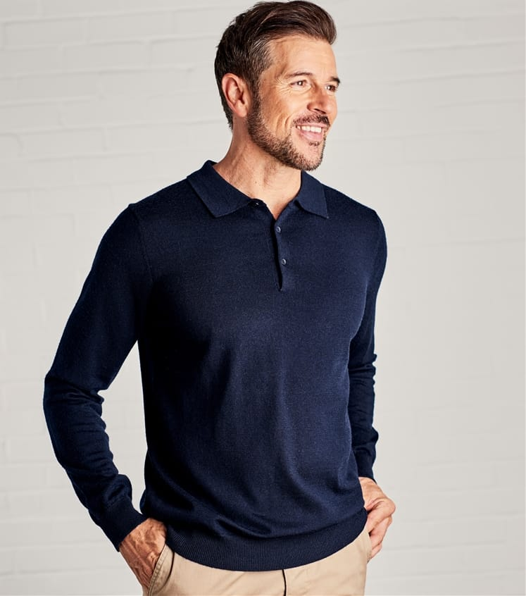518a0758241c Navy | Mens New Merino Long Sleeve Polo Shirt | WoolOvers UK