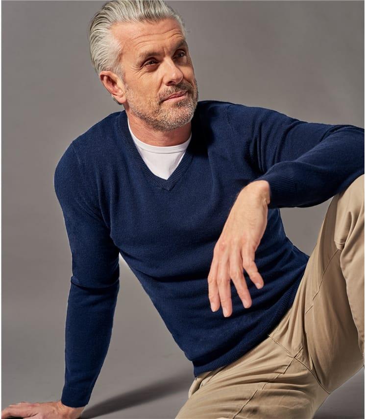 Mens Pure Cashmere V Neck Sweater