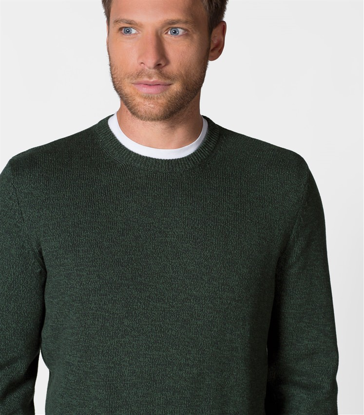 Mens 100% Cotton Twist Crew Neck Jumper