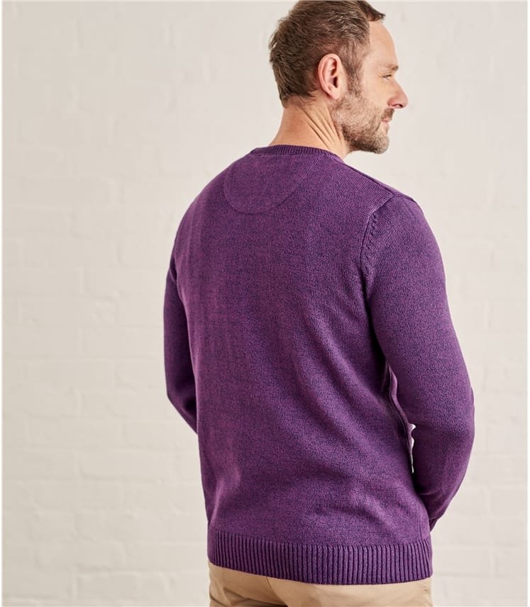 Pullover mit Rundhalsausschnitt in gedrehten Farben aus Baumwolle für Herren