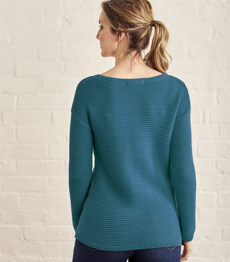 Womens Cotton Textured Boat Neck Jumper