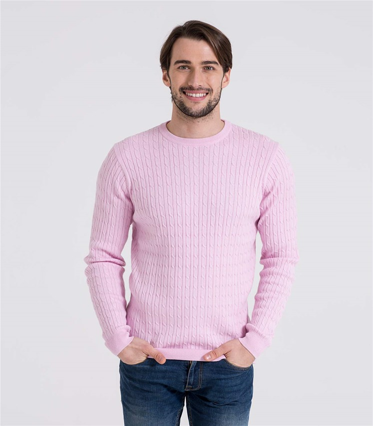 9b8f9914b41 Mens Cashmere and Cotton Cable Crew Neck Sweater