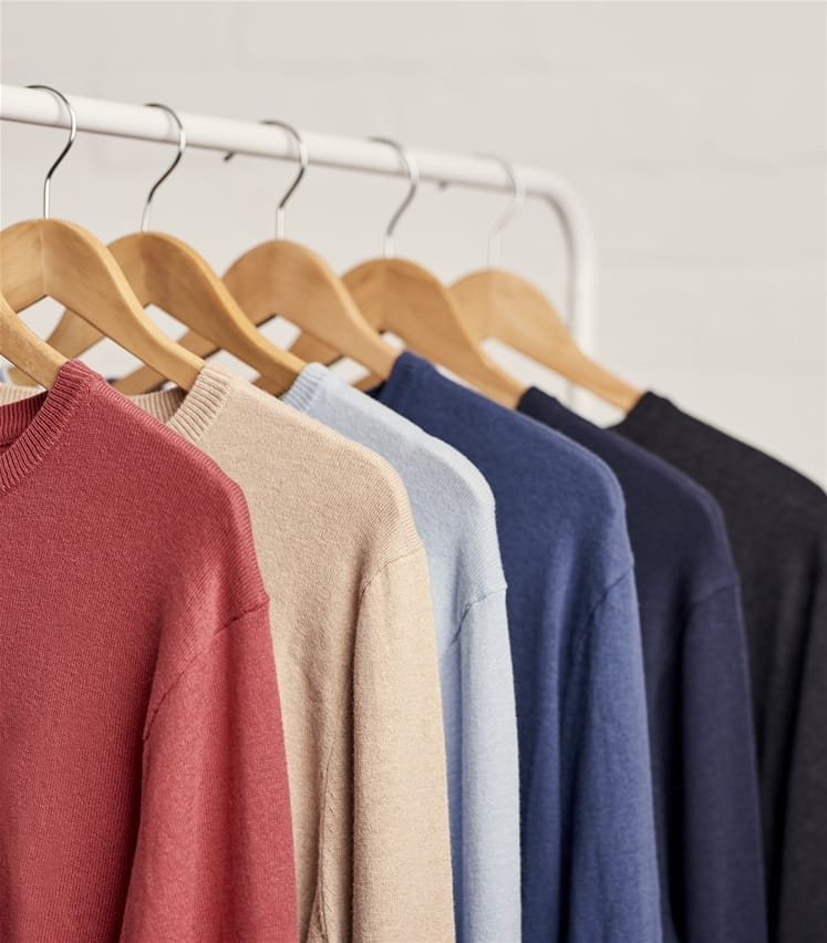 Mens Cashmere and Cotton Crew Neck Jumper