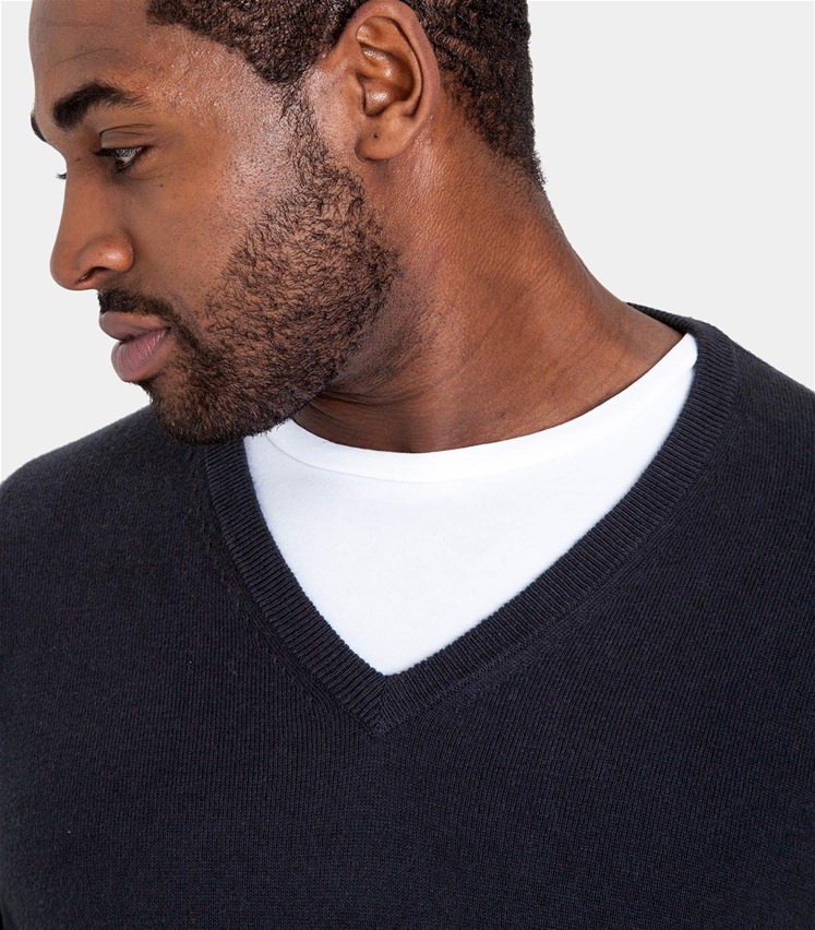 Mens Cashmere and Cotton V Neck Jumper