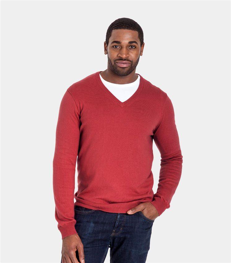 Mens Cashmere and Cotton V Neck Jumper