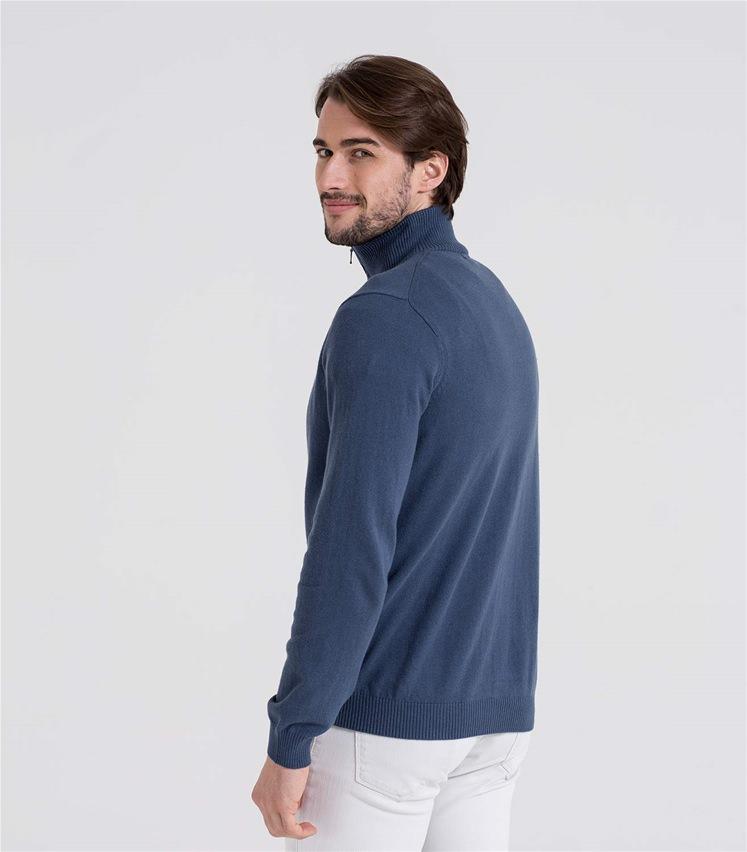 Mens Cashmere and Cotton Zip Neck Jumper