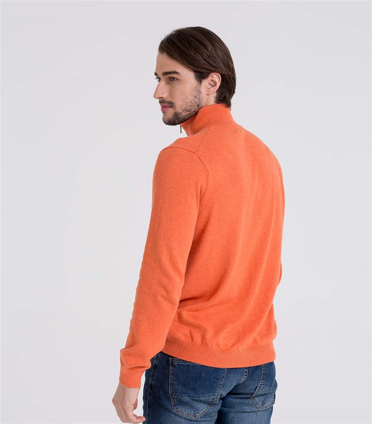 Mens Cashmere and Cotton Zip Neck Jumper