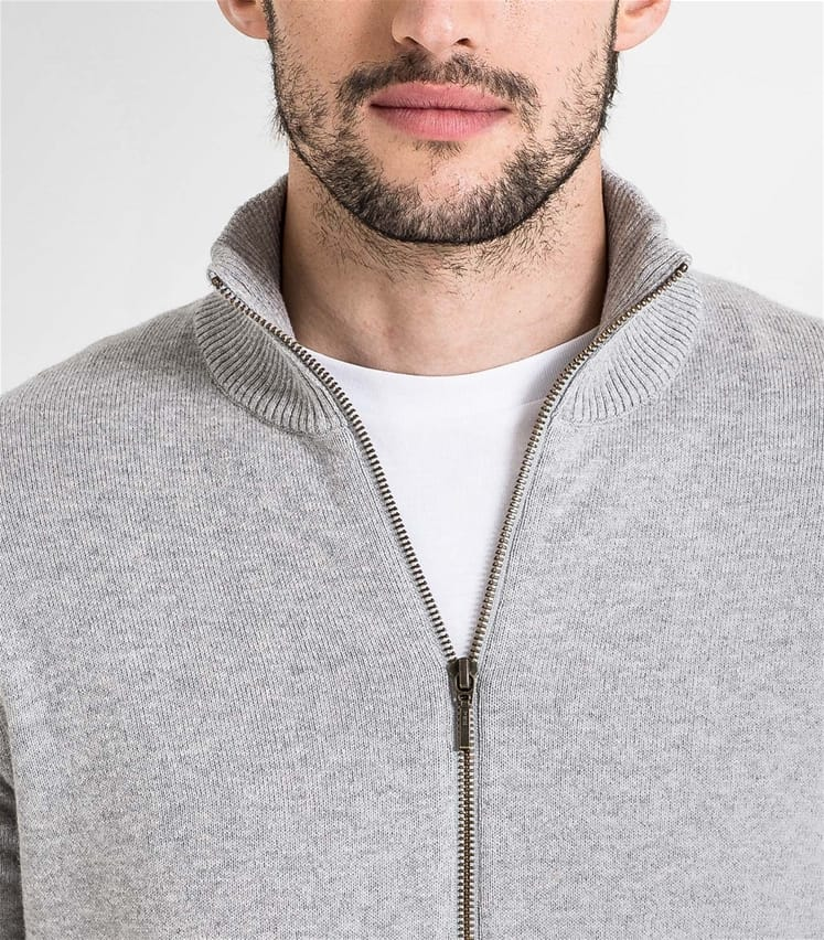 Mens Cashmere and Cotton Zip Through Cardigan