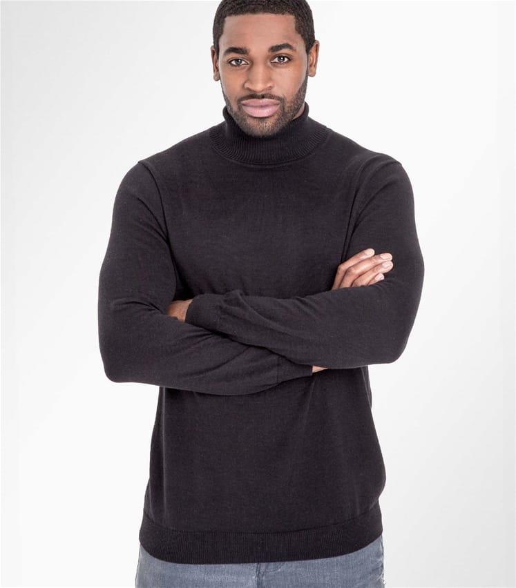 05816b43d67ccf Black 30% Silk & 70% Cotton | Mens Silk & Cotton Polo Neck Jumper