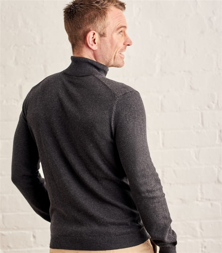 Mens Silk and Cotton Turtle Neck Sweater