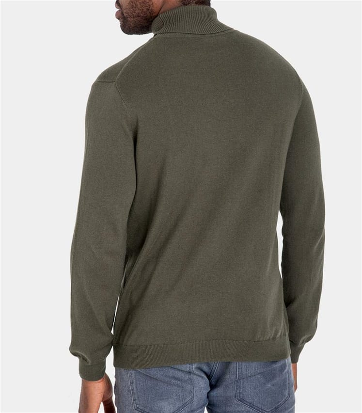 Mens Silk and Cotton Polo Neck Jumper