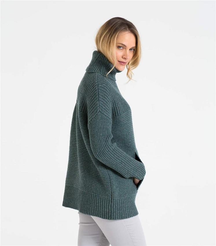 Womens Lambswool Chunky Roll Neck Jumper