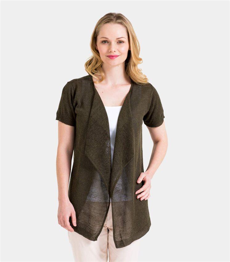 Einzelhandelspreise einzigartiges Design günstige Preise Kurzärmlige Strickjacke mit Wasserfallkragen und Netzstoffdetail aus Leinen  und Viskose für Damen