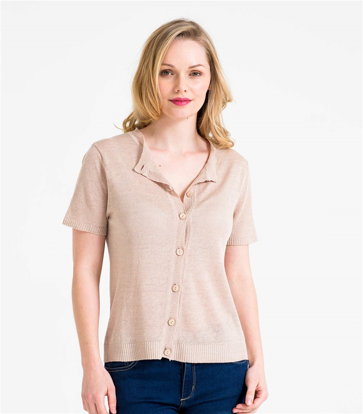 Womens Lightweight Linen Mix Short Sleeve Cardigan