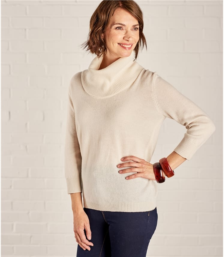 Womens Cashmere Merino Cowl Neck Sweater
