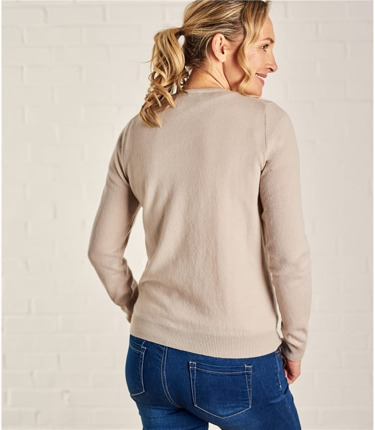 Womens Cashmere and Merino Luxurious Crew Neck Cardigan