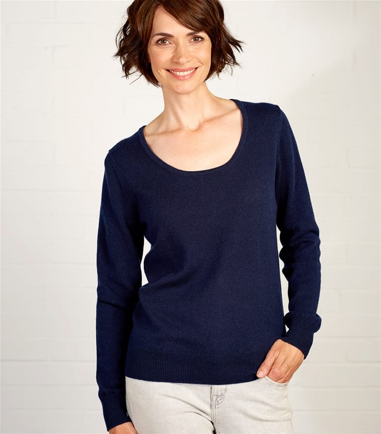 Womens Cashmere and Merino Scoop Neck Sweater