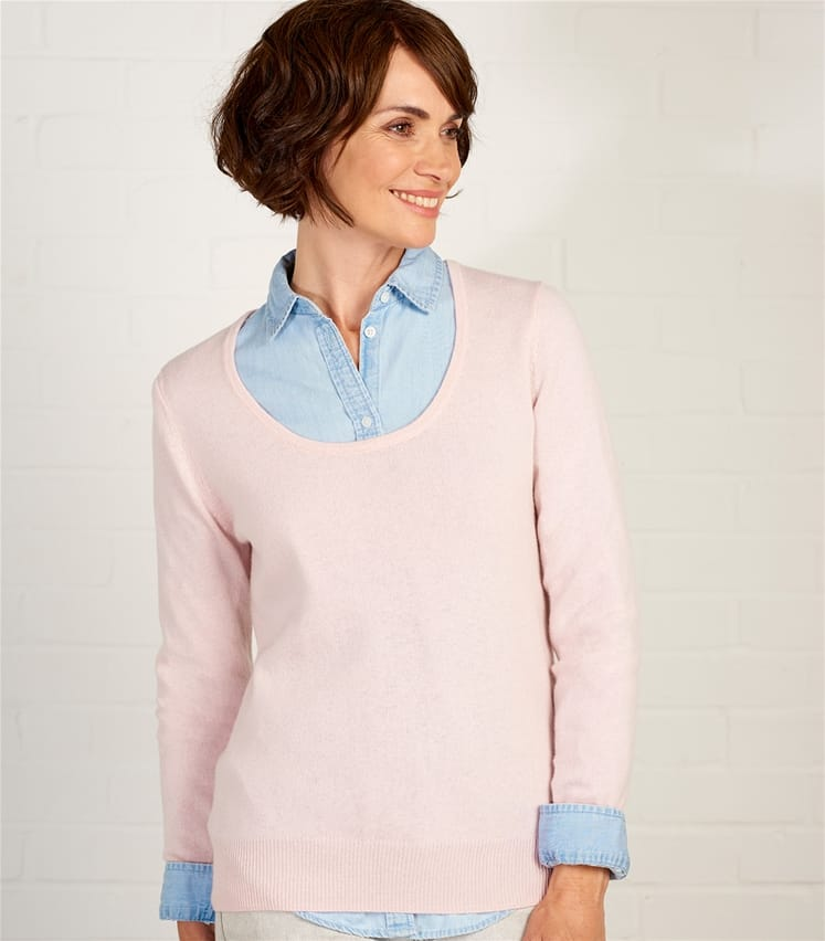 Womens Cashmere and Merino Scoop Neck Jumper