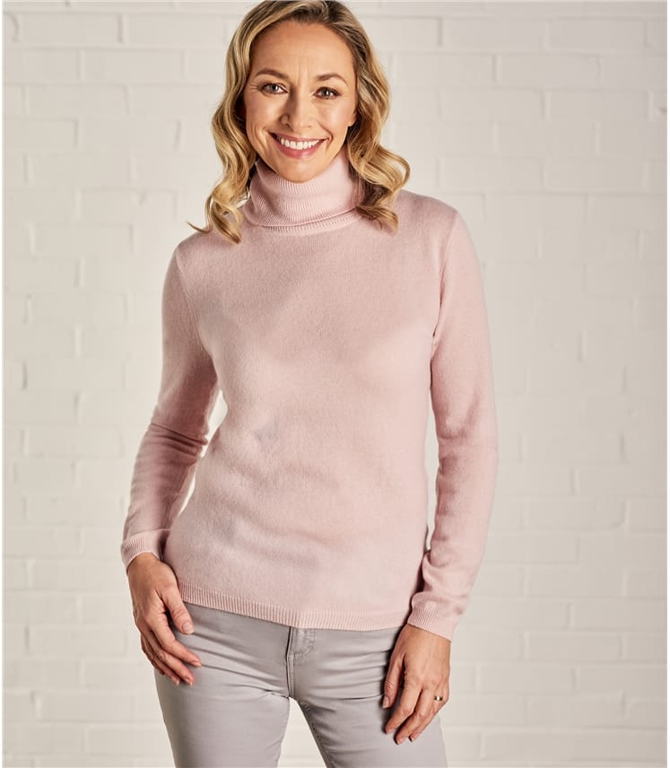 Womens Cashmere and Merino Fitted Polo Neck Knitted Jumper