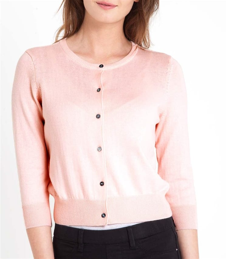 Womens Silk and Cotton 3/4 Sleeve Crop Cardigan
