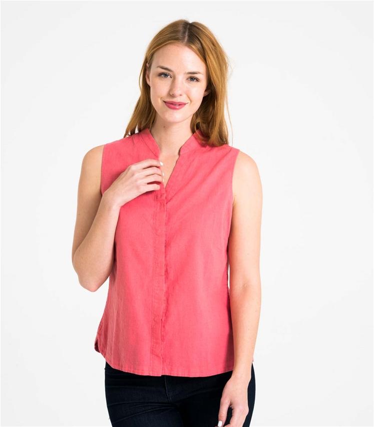 2d5442b7740 Womens Linen and Cotton Sleeveless Shirt
