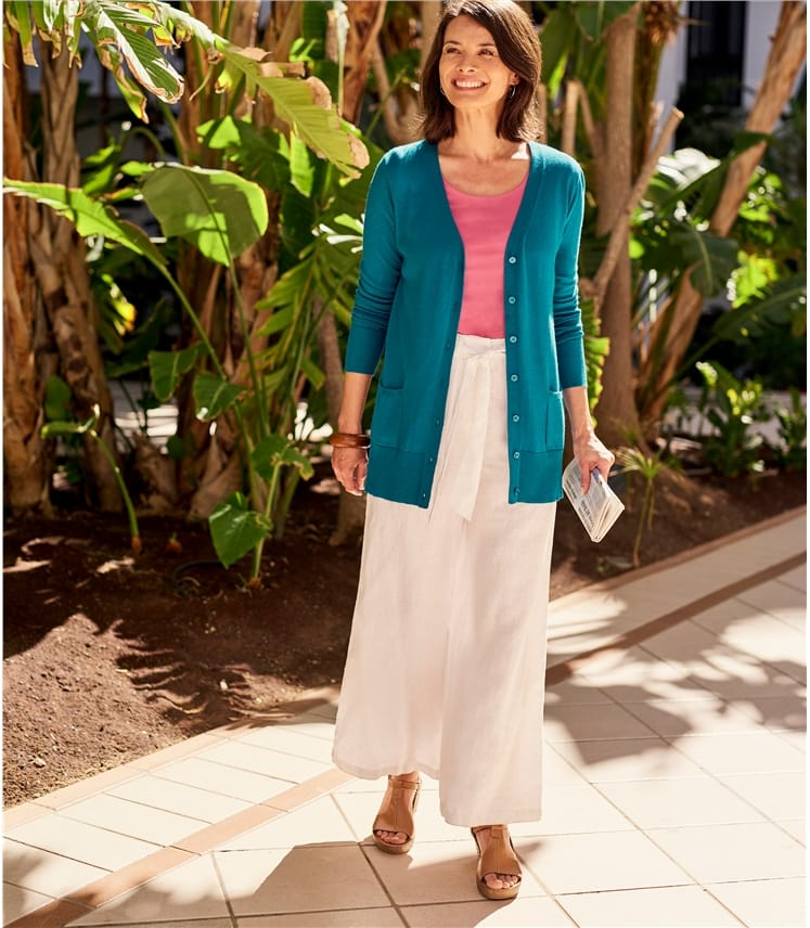 Silk and Cotton Long Cardigan