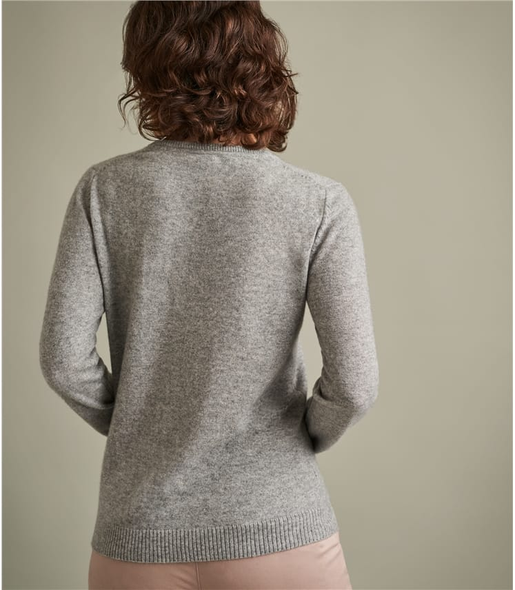 Womens Pure Cashmere V Neck Jumper