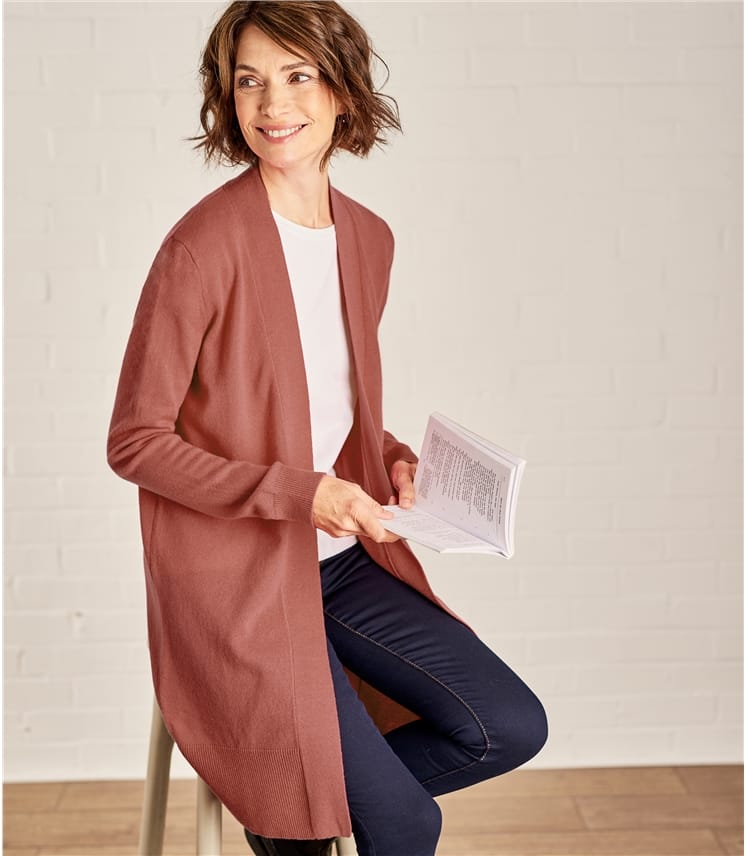 Womens Cashmere and Merino Open Long Cardigan